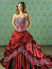 Classy Ball Gown Strapless Satin Taffeta Wedding Dress