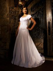 Classy Ivory Satin Empire Gown of Short Cap Sleeves