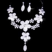 Clear White Floral Rhinestone Bridal Jewelry Set