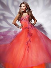 Colorful Floor-length Sweetheart Embroidered Bodice Evening Dress
