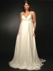 Column V-Neckline Chapel Train Backless Shirring Wedding Dress