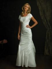 Conservative Bridal Gown of Short Sleeves and Ruches