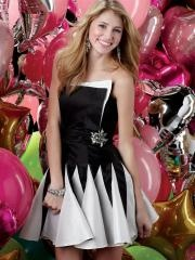 Contemporary Strapless Black and White Satin Cocktail Dress with Rhinestones