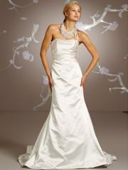 Couture Strapless Ivory Satin Wedding Gown of Trumpet Silhouette