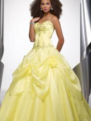 Crystal Organza Ball Gown Strapless Full Length Flower Accented Quinceanera Dresses
