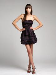 Cute Strapless Short Sheath Multi-Tiered Grape Silky Satin Bridesmaid Dress 2012