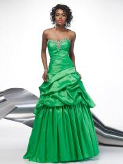Dark Green Taffeta Ball Gown Style Strapless Sequined Trim and Pick-up Skirt Quinceanera Dresses
