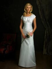 Decent Cap Sleeved Satin Gown of Floor Length and Drop Waist