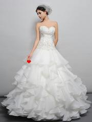 Dramatic Floor-length Sweetheart Beaded Bodice and Ruffled Skirt Court Train White Wedding Dress