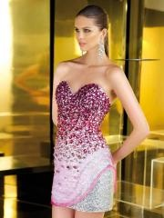 Dramatic Mini-length Sweetheart Sheath Dress with Rhinestones and Sequins for Prom Parties