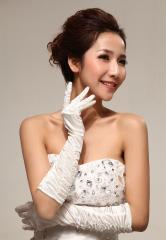 Dramatic opera Length Long White Lycra Fingerless Bridal Gloves