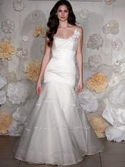 Dream-Like One-Shoulder Floral Satin Gown of Fish Tail