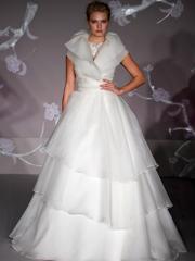 Elaborate Jewel Neckline Wedding Gown of Tiered Skirt