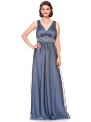 Elegant A-line Style Low V-neckline Beaded Waistband Silver Chiffon Mother of the Brides Dresses