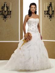 Elegant Ball Gown Strapless Chapel Train Satin Organza Wedding Dress