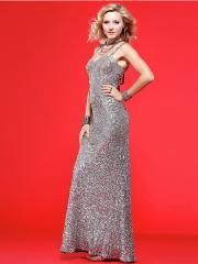 Elegant Floo-length Spaghetti-straps Sweetheart Lace-up Back Sequined Dress
