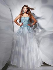 Elegant Floor-length Strapless Sequined Bodice Taffeta Dress