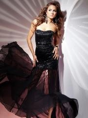 Elegant Floor-length Strapless Sleeveless Black Evening Dress with Sequins