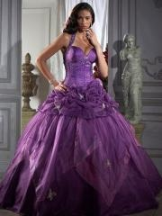 Elegant Purple Organza Beaded Halter strap Dropped Waist Ball Gown Quinceanera Dresses