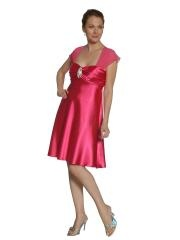 Elegant Short Knee-Length Sheath Fuchsia Silky Satin and Brooch Mother Outwear of Jacket