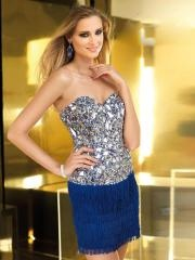 Elegant Short Length Dress Features with Sweetheart Sequined Bodice with Rhinestones and Pleated Skirt