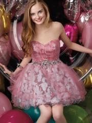 Elegant Short-length Sweetheart Neckline Printed Cocktail Dress with Rhinestones Belt
