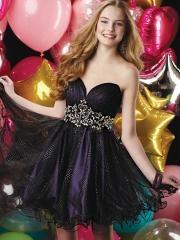 Elegant Sleeveless Short-length Cocktail Dress with Rhinestones Waistline for Fancy Taste