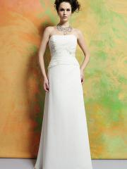 Elegant Strapless Wedding Dress with Ruched Empire Waist Full Length Skirt and Beaded Embellishment
