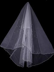 Elegant Tulle Veil with Twinkling Stars and Beadings