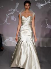 Elongated Stretch Satin Trumpet Wedding Dress of Tulle Shawl