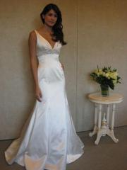 Empire Deep V-Neck Gown of Beaded Band and Train