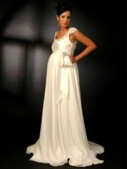 Empire Scoop Neckline Bow Tie Chapel Train Wedding Dress