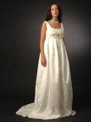 Empire Square Neckline Stain Zipper Belt Wedding Dress