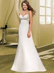 Empire with Deep V-Neck in Satin Fabric Wedding Dress