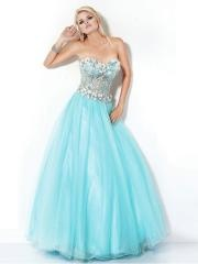 Enchanting Strapless Ball Gown Appliqued Bodice and Ice Blue Tulle Skirt Quinceanera Dress