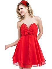 Enchanting Strapless Notched Neck Short A-Line Red Chiffon Bow and Beaded Bridesmaid Dress