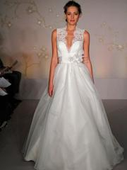 Ethereal Deep V-Neck Satin Organza Wedding Dress