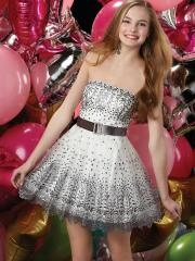 European Style Strapless Printed Short-length Belted Cocktail Dress with Sequins and Rhinestones