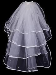 Exquisite Satin Seamed Multi-layered Tulle Veil with Beadings