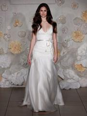 Fabulous Deep V-Neck Belt Attached Wedding Gown
