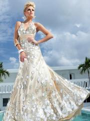 Fabulous Floor-length V-neck Halter Appliqued Mermaid Dress