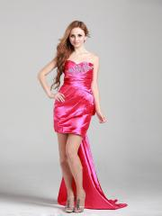 Fabulous Mini-length Sweet-heart Homecoming Dress with Bow Tie Train