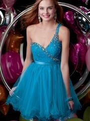 Fabulous One Spaghetti Strap Shoulder Sequined Bodice Cocktail Dress with Tulle Skirt