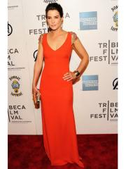 Fabulous Orange Red V-neck Evening Dress with Beading on the shoulders