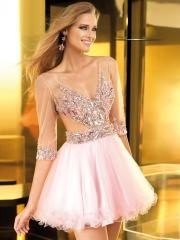 Fabulous Short Party Dress of Half-sleeves Rhinestones and Tulle Bodice and Skirt