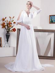 Fabulous White with V-Neck in Sweep Train Wedding Dress