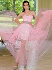 Fairytale Mini-length Sweetheart Sequined Skirt Prom Dress with Rhinestones Belt and Tulle Skirt