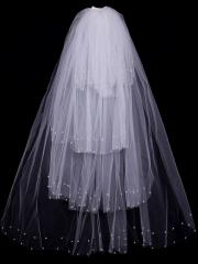Fairytale Multiple Layered Tulle Veil with Pearls and Beadings