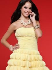 Fanciful Strapless Daffodil Multi-Tiered Chiffon Short Length Junior Bridesmaid Dresses