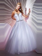 Fancy Floor-length Sweetheart White Dress with Rhinstones